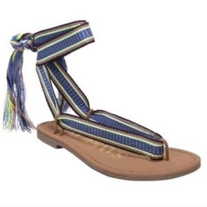 Sam & Libby ankle tie boho sandals size 6.5